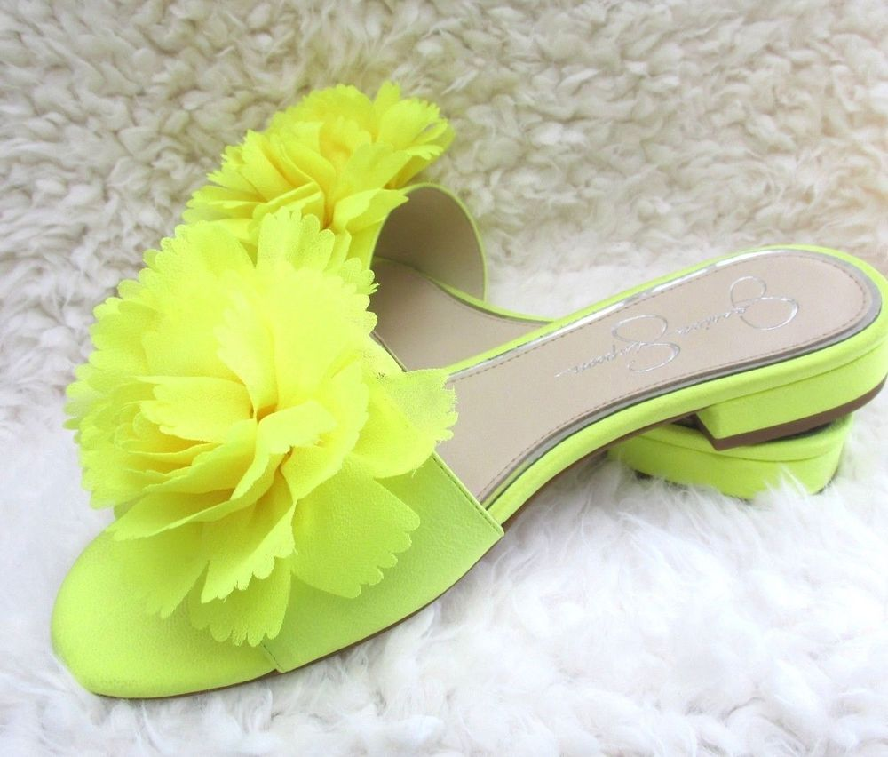 32a2d3b1b Jessica Simpson Womens Caralin Slide Sandal Yellow Shock w Flowers Size 7M   JessicaSimpson  Slides