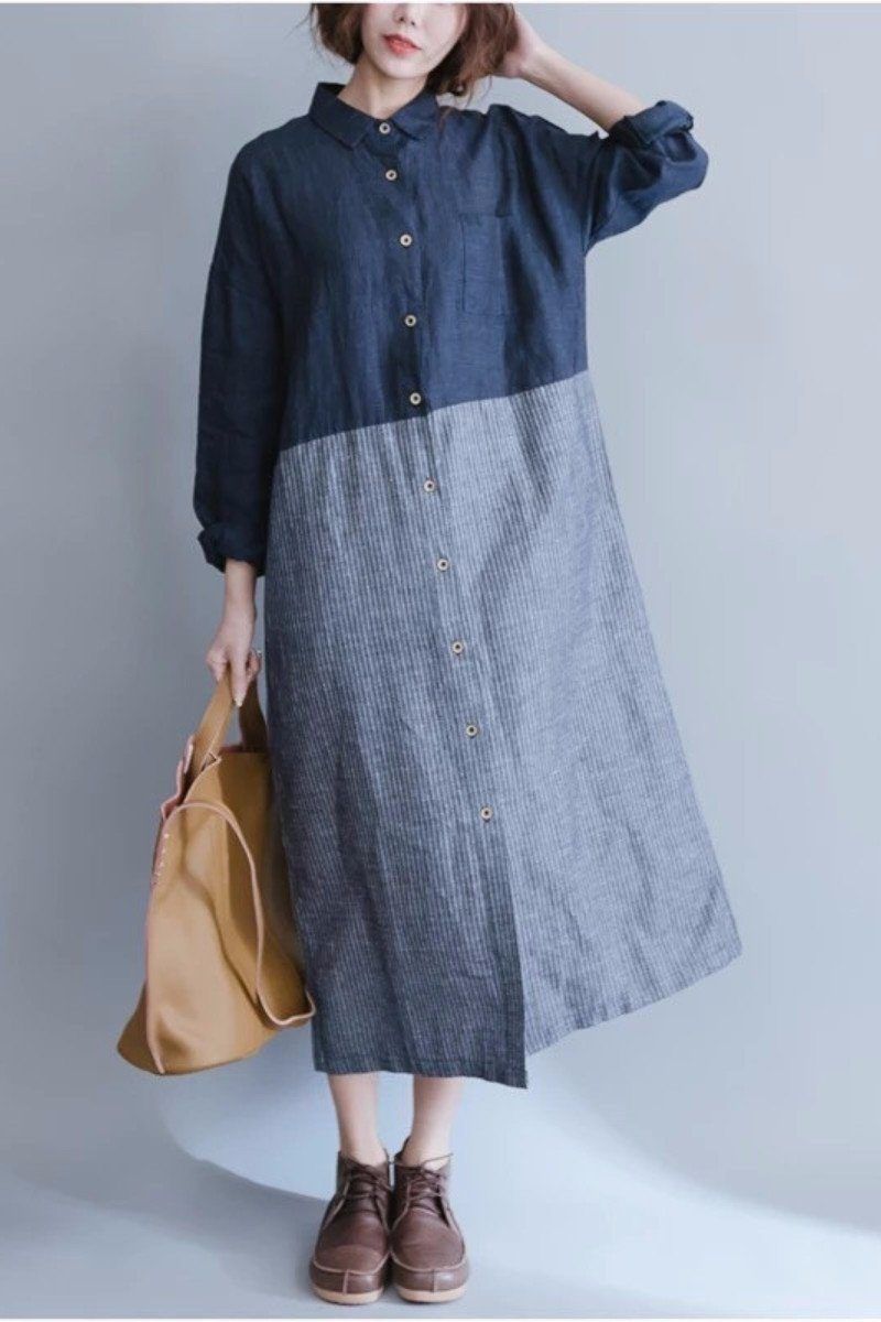 d1c59d6582 Long Sleeve Shirts For Women Blocks Maxi Shirt Dress – FantasyLinen ...