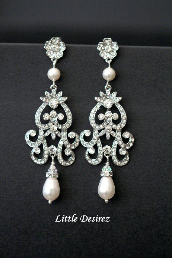 Crystal and Pearl Wedding Earrings by LittleDesirezJewelry on Etsy