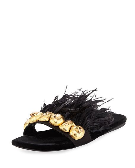 eae781308e3e4 PRADA FEATHER-EMBELLISHED FLAT SLIDE SANDAL, BLACK/GOLD. #prada #shoes #