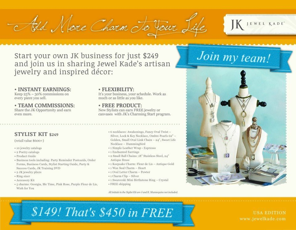 Join me! Jewel Kade is a NEW company offering hand crafted