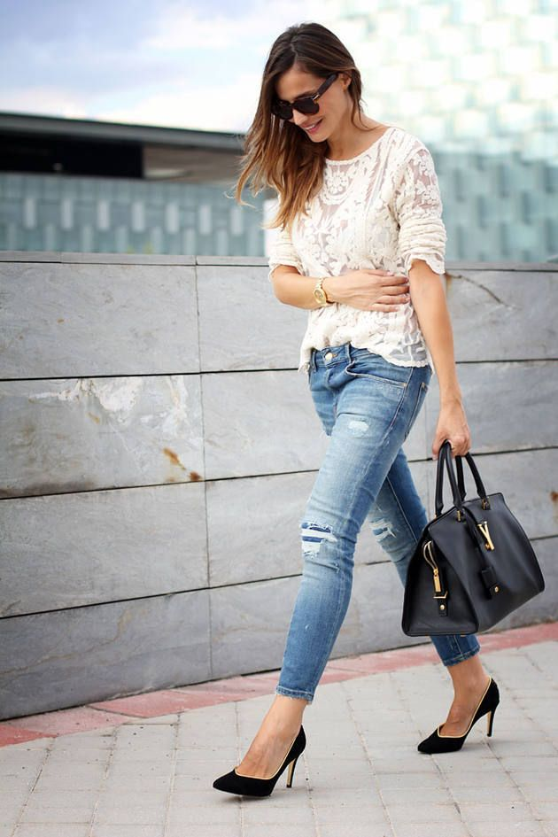 I like the use of the distressed jeans, heels, and lace. I have the distressed jeans now, just need to find the right casual but feminine top.