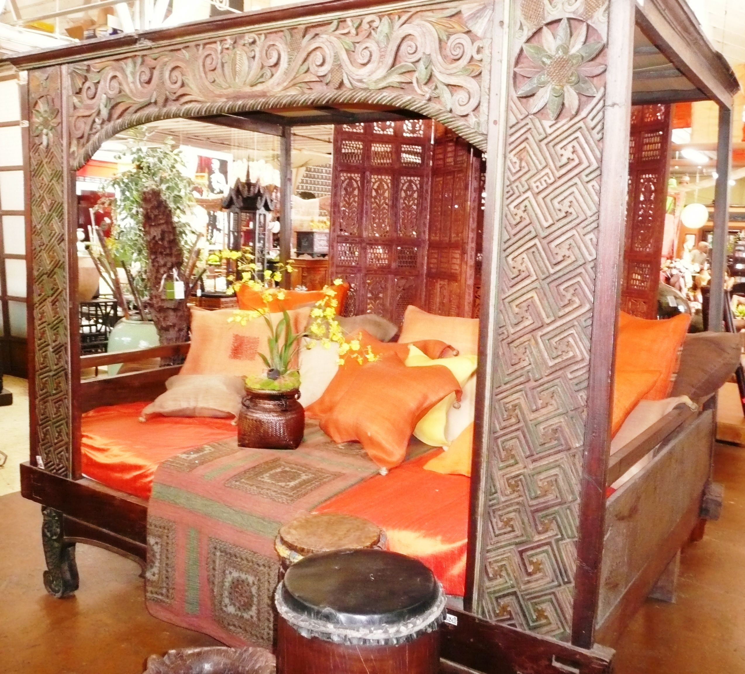 Javanese Wedding Day Bed with Tinalak Hemp Fiber cushions. Out of Asia Showroom.  sales@outofasia.com