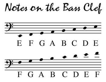 Bass Clef Pitch Poster Blank Sheet Music Bass Clef