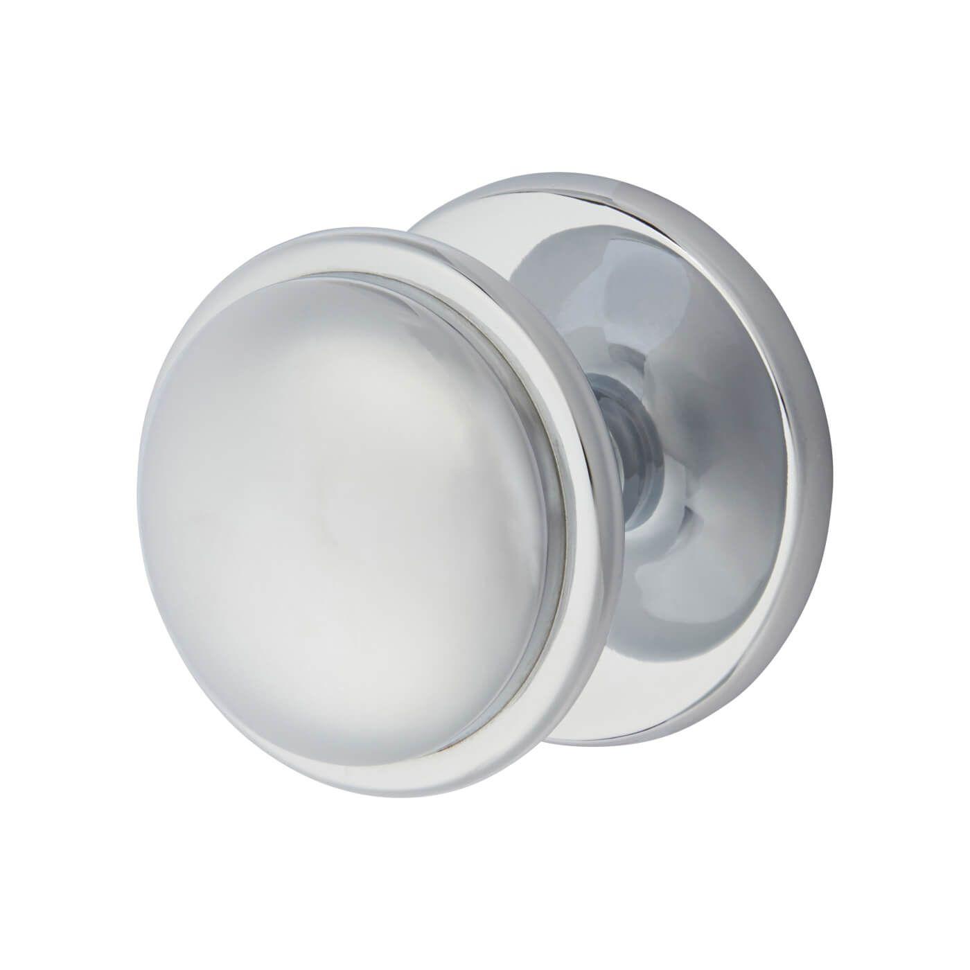 morello round centre door knob 80mm polished chrome