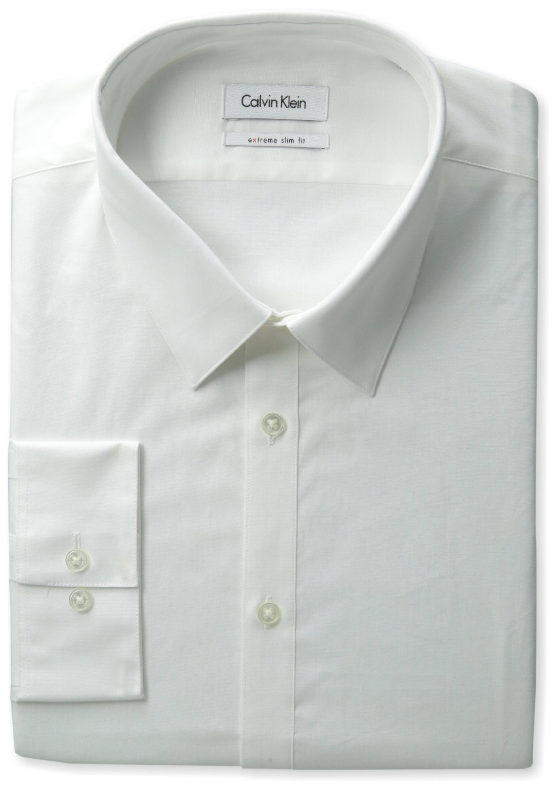 Calvin Klein Mens Extreme Slim Fit Dress Shirt White 15534 35