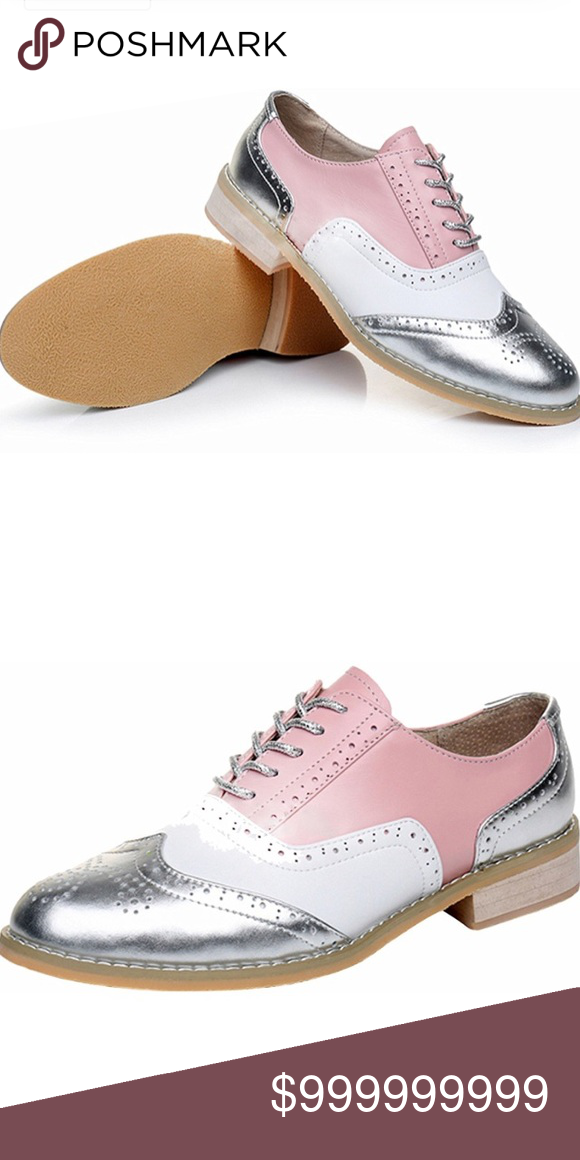 6900b38a87cb6 Women's Pink silver white leather shoes Leather, handmade Toe Cap ...
