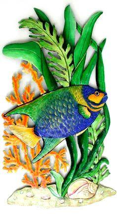 Hand Painted Tropical Fish Metal Wall Hanging Blue Angelfish