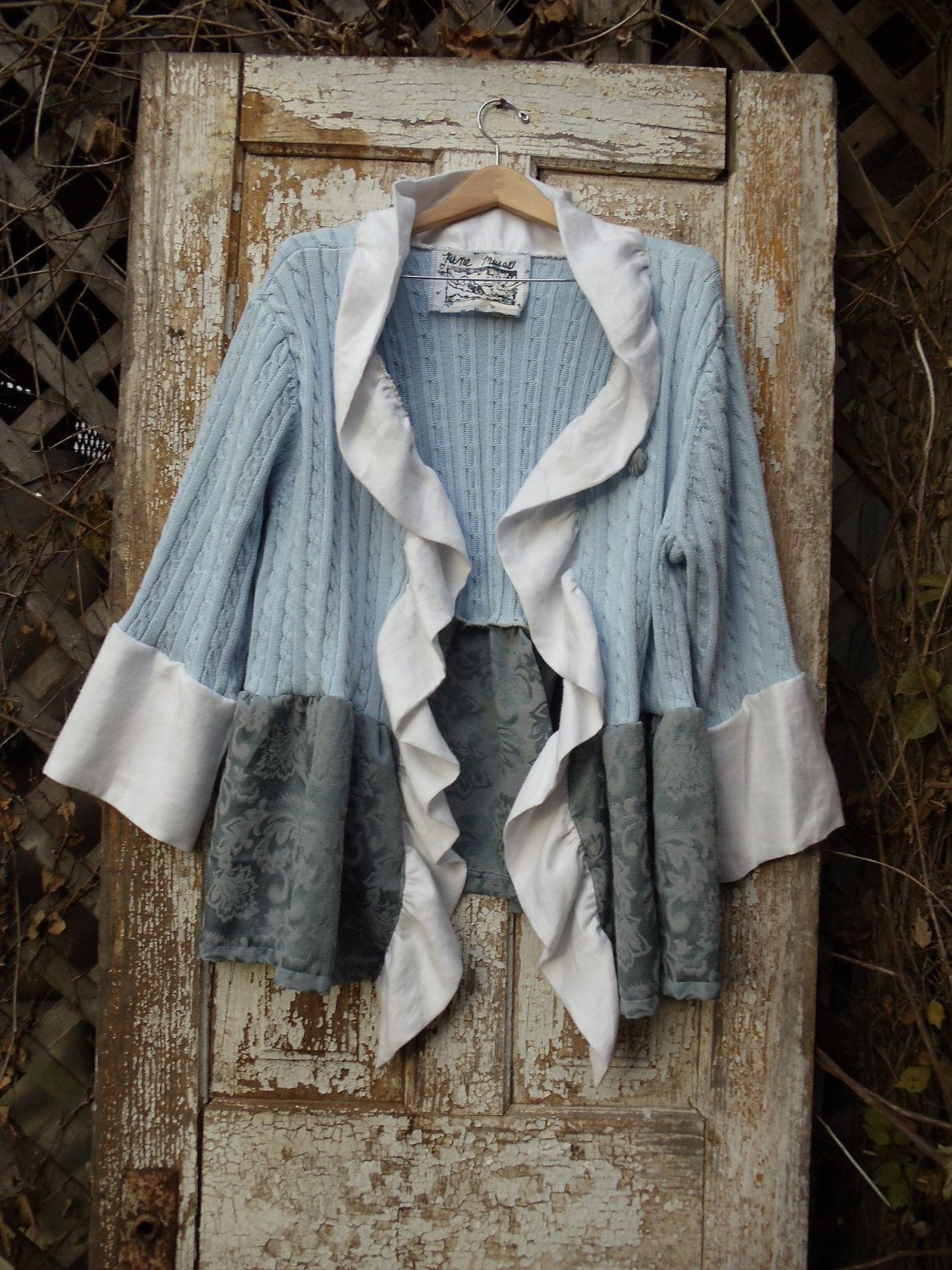 Silver Blue Sweater Top,Pale Blue Cable Knit, White Linen Ruffle ...