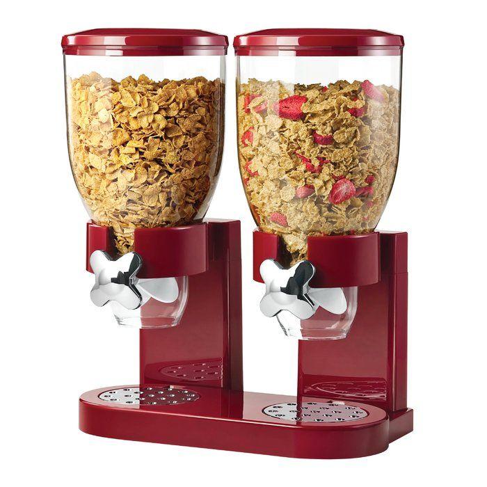 Zevro Double Cereal Dispenser, Plastic/Metal in Si