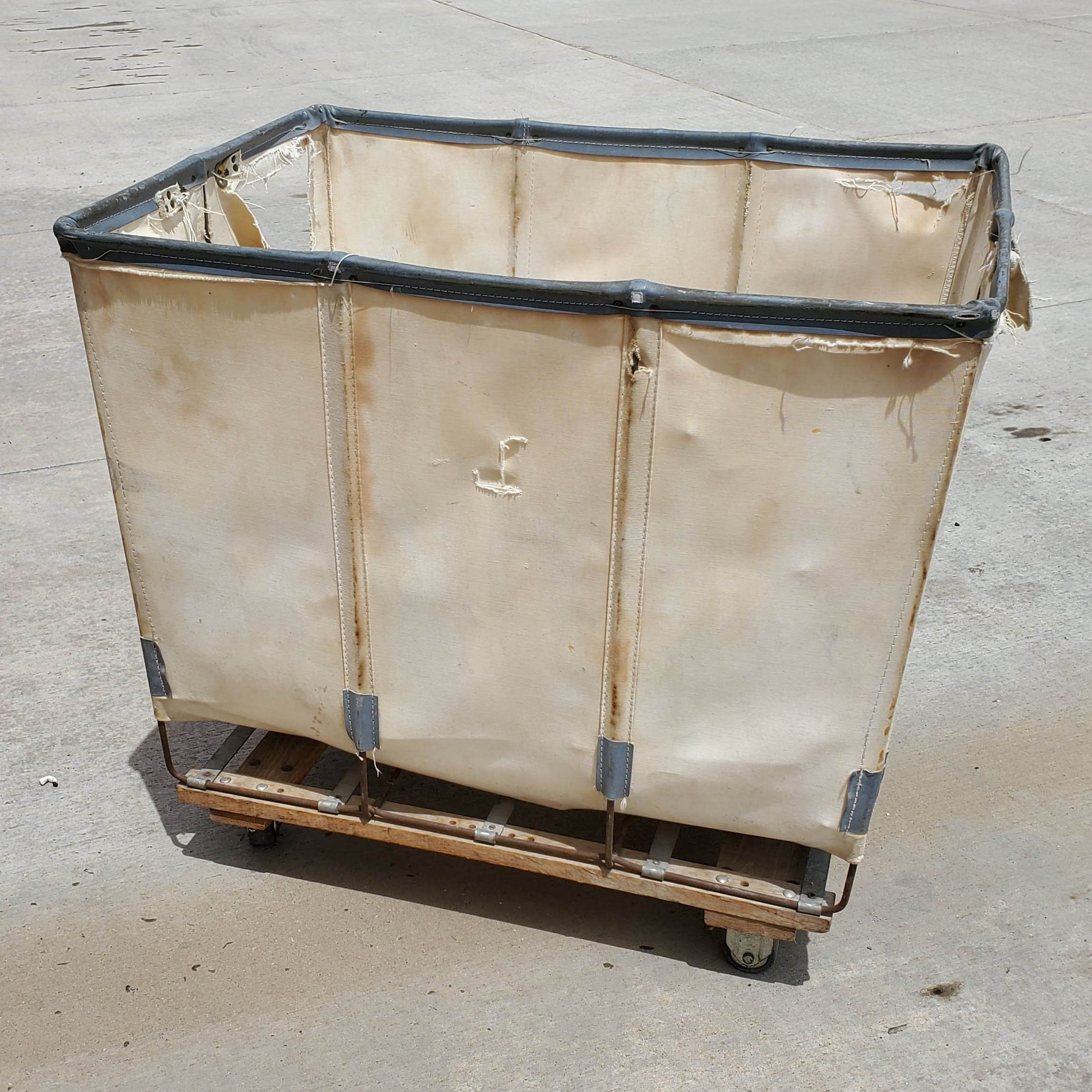 Industrial Laundry Basket Vintage Mail Cart On Rolling Casters