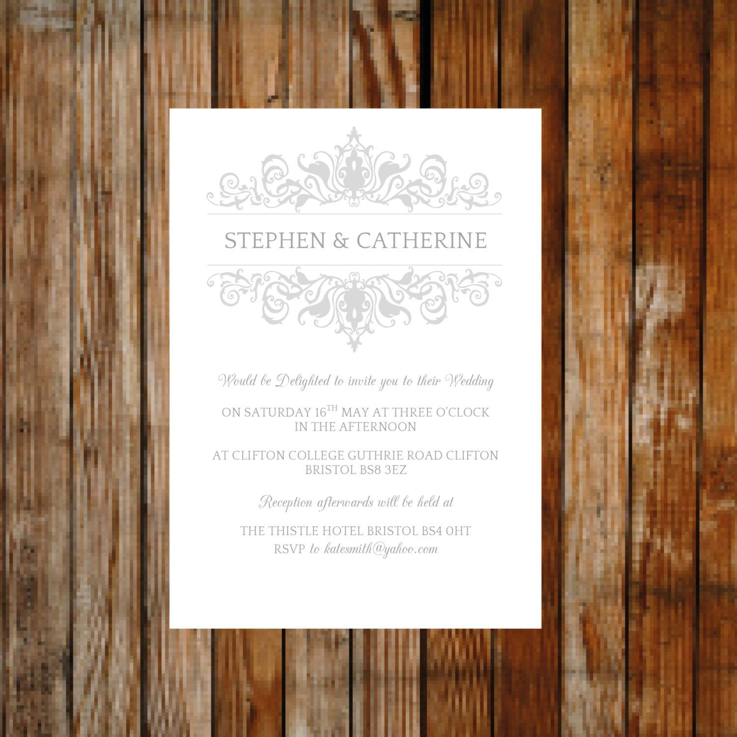 wedding invitation template adorn silver download printable