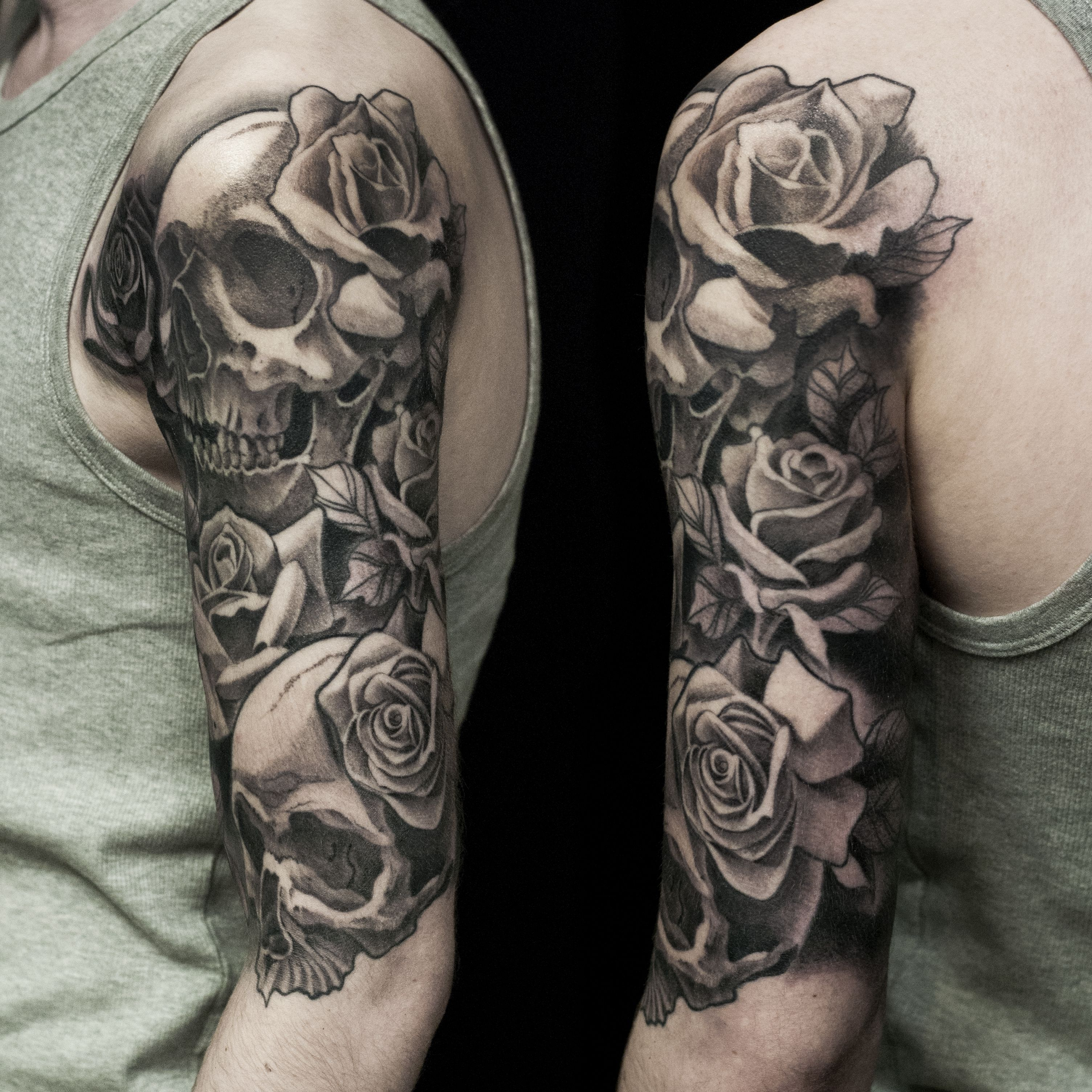 skull and rose half sleeve, done at Dublin Ink Rose