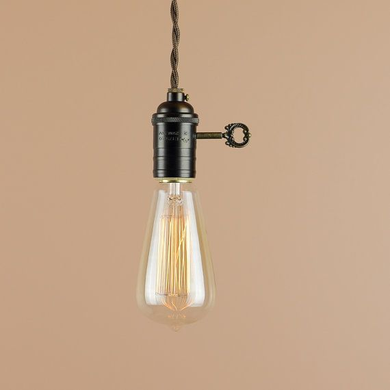Industrial Lighting w/ Edison Light Bulb and Large Turn Key - Pendant Light w/ Antique Reproduction Cloth Wire - Farmhouse Style Home Decor & Industrial Lighting w/ Edison Light Bulb and Large Turn Key ... azcodes.com