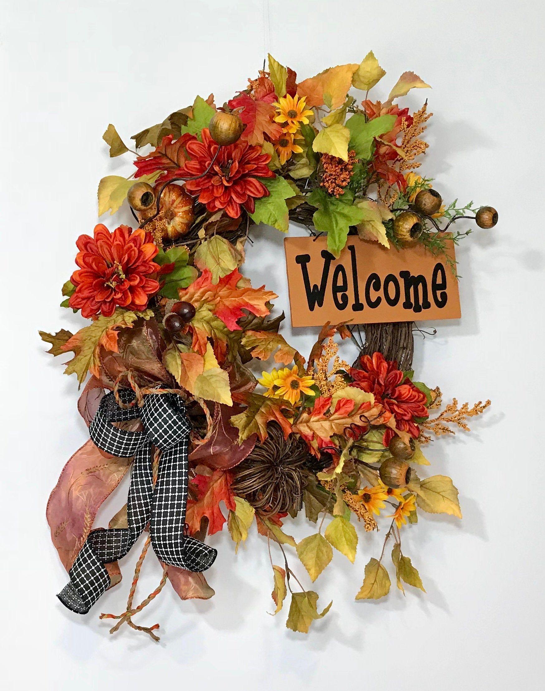 Autumn Wreath Decor Autumn Wreath Decoration Fall Grapevine Wreath Happy Halloween Sign Halloween Wreath For The Front Door Fall Decor