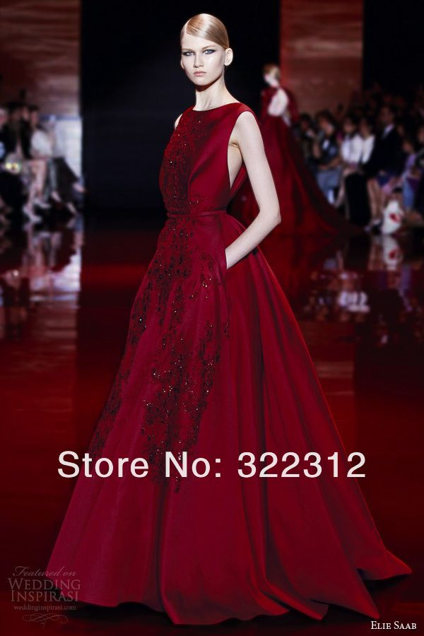 Aliexpress Buy 2013 Elie Saab Haute Couture A Line Tulle Sexy V Neck Full Beads Flower Elegant Floor Length Design Evening Prom Gown Dress From