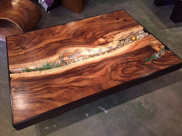 Sequoia Monkey Wood Coffee Table With Stones Wood Wood