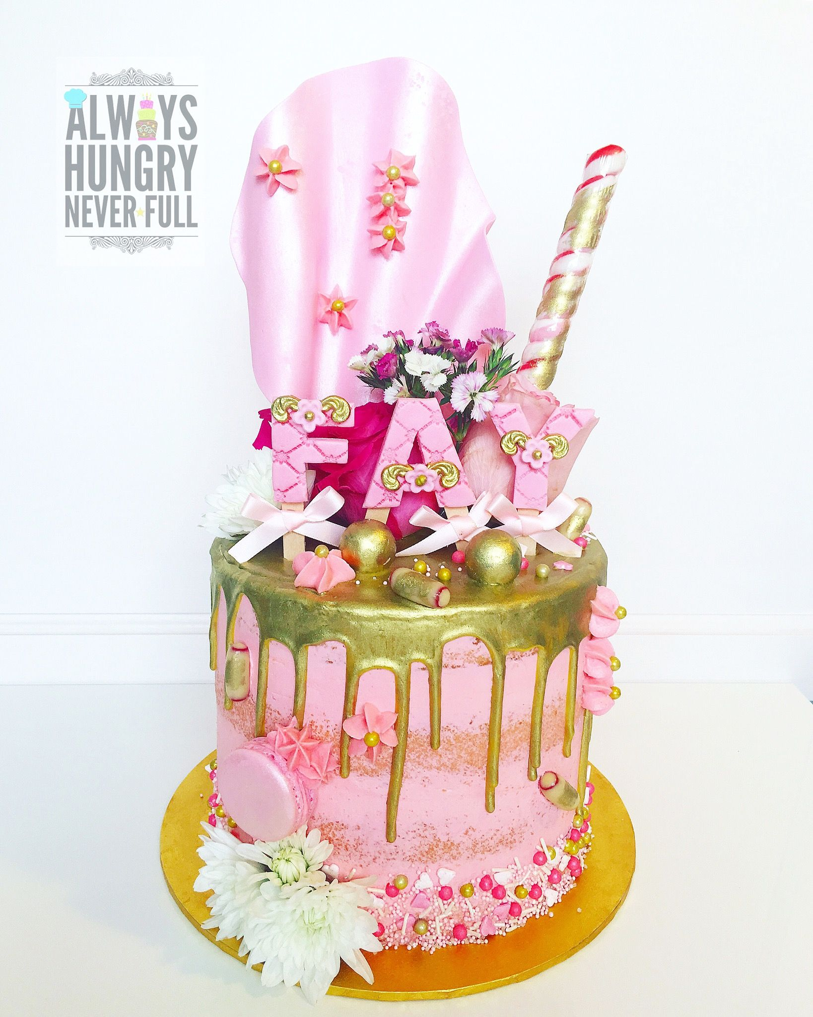 Pink & Gold Drip Cake by alwayshungry_neverfull Drip