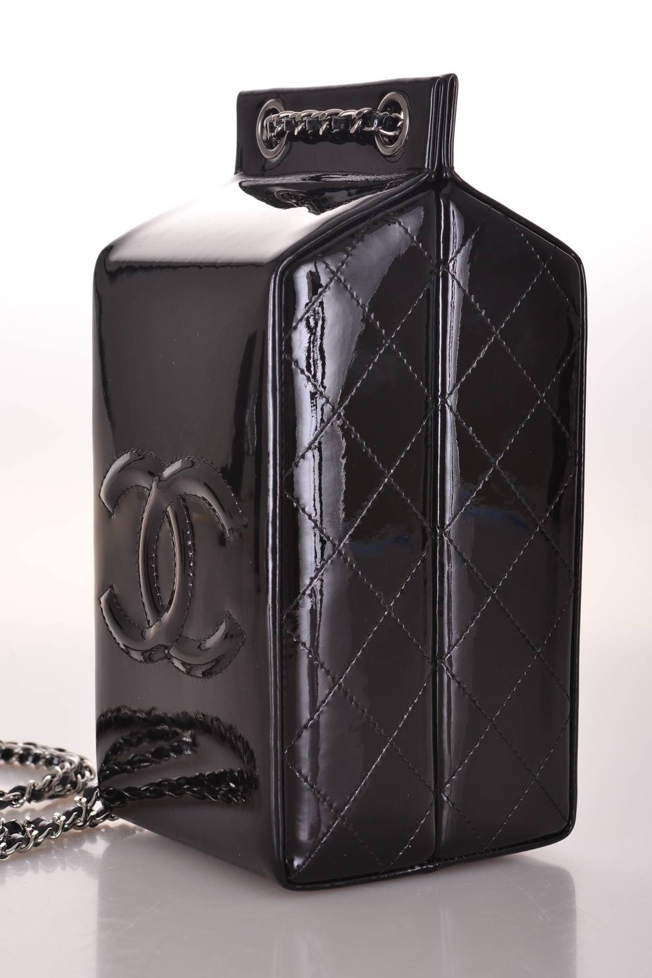 09e8e00afd LIMITED EDITION RUNWAY Chanel MILK BOTTLE BLACK PATENT LEATHER CLASSIC