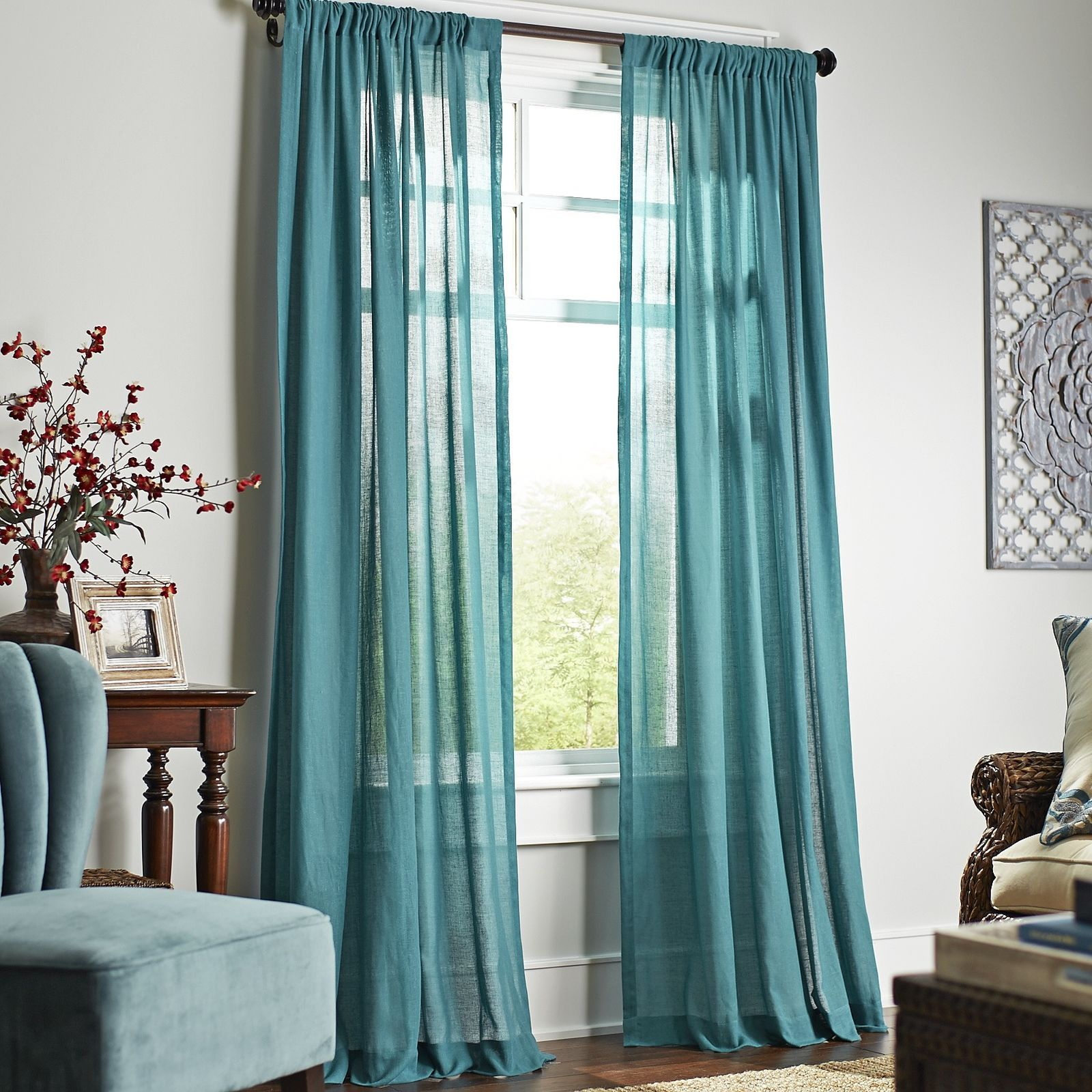 Quinn Sheer Curtain   Teal | Pier 1 Imports