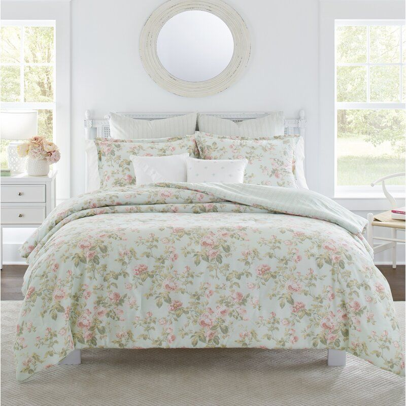 Laura Ashley Single Standard Floral Striped Pillowcases All Cotton Bedding