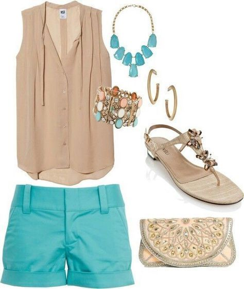 Adorable tan tank with turquoise shorts. I love this outfit! Aff link Sponsored