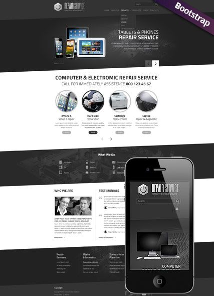 Website Template Pc Repair Service Website Template Mobile Responsive Website