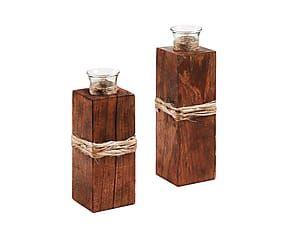 Set de 2 candeleros de madera de mango y cristal Khari - marrón