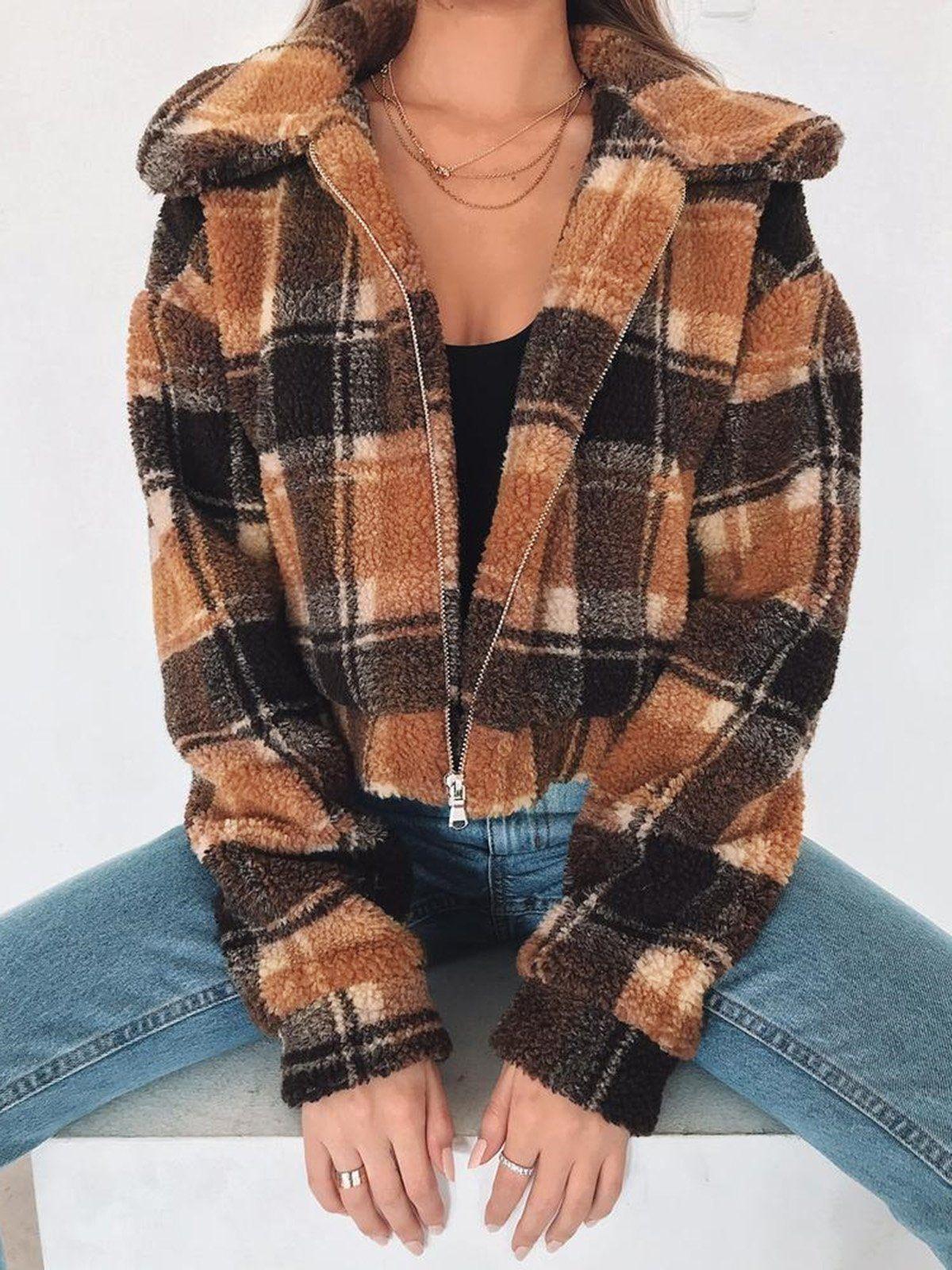 Sudadera con capucha recortada en tablero de cuadros MULTI