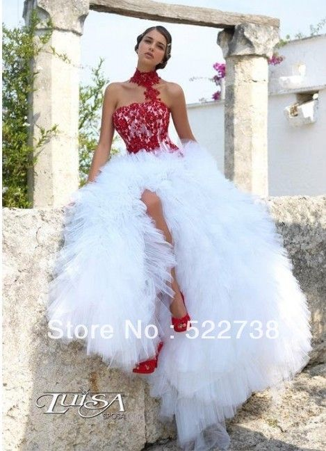 Sexy strapless see through red lace gothic corset wedding dresses ...