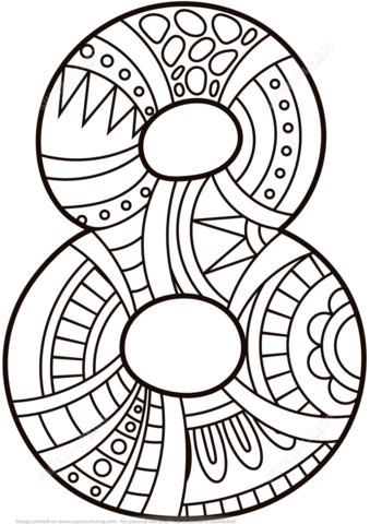 Number 8 Zentangle Coloring Page From Numbers Category