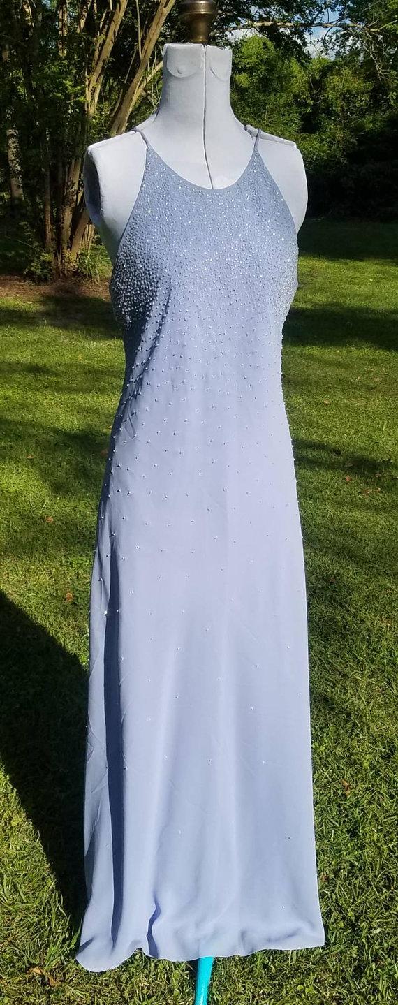 90s Prom Dress Vintage Spaghetti Straps Periwinkle Prom Dresses Vintage 90s Prom Dresses Prom Dresses [ 1439 x 570 Pixel ]