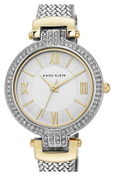 Anne Klein Crystal Bezel Mesh Strap Watch, 31mm