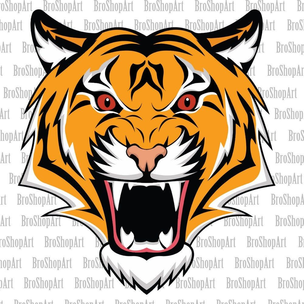 Tiger Head Svg Png No Background Clipart Instant Download Sublimation Graphics Tigerheadsvg Tigerhead Tigerpng Tigerve Tiger Face Tiger Head Animal Faces