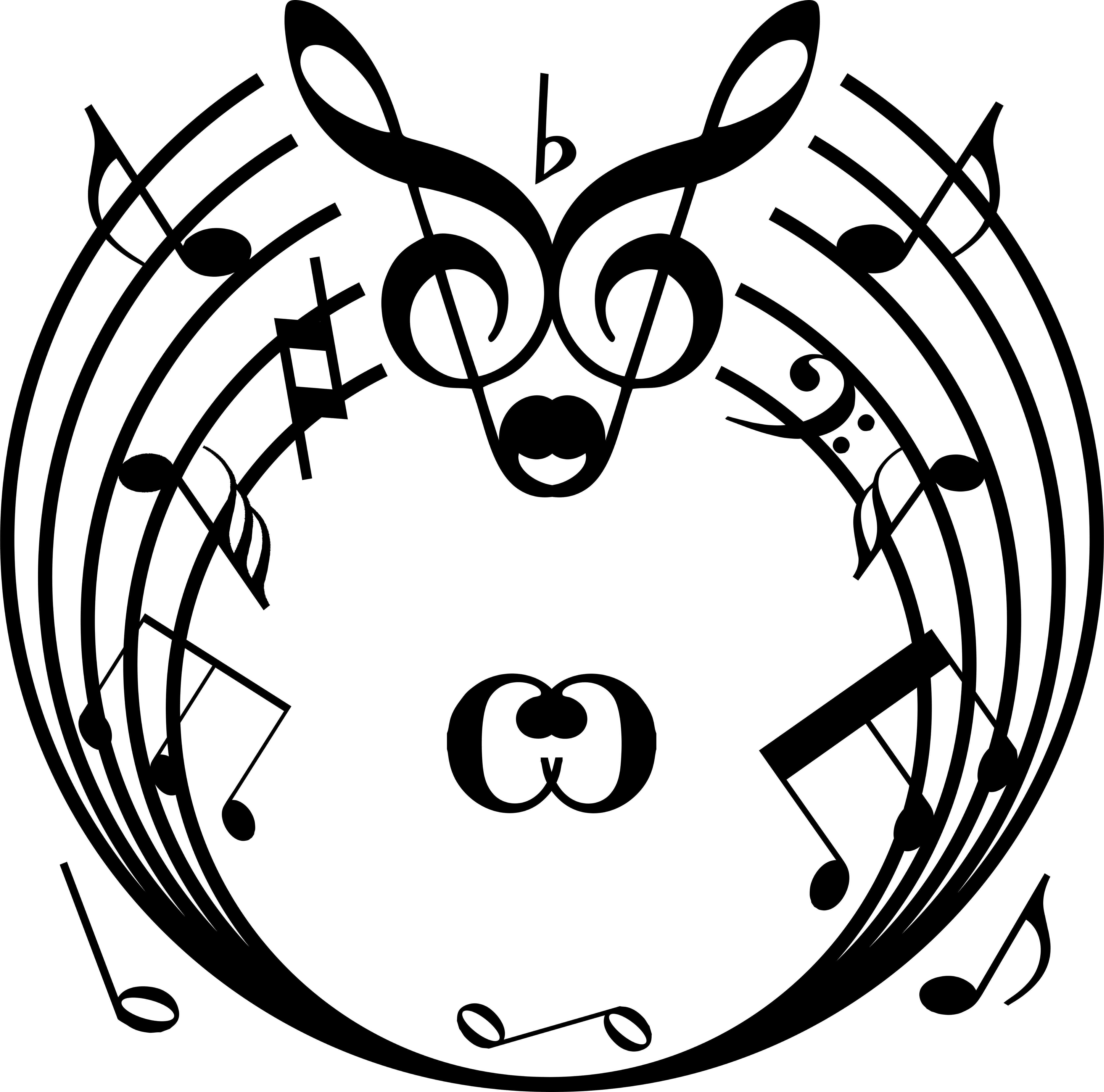 Musical Notes & Score  Round Circular  Wall Vinyl