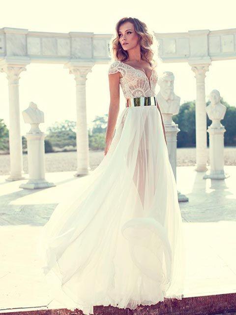 vestido de novia línea a, detalles en pedrería, manga sisa, cinturón