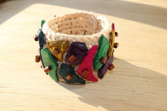 Crochet bracelet,  Ethnic bracelet, Summer Braselet, Textile Jewelry , Ethnic Wedding, Multycolor