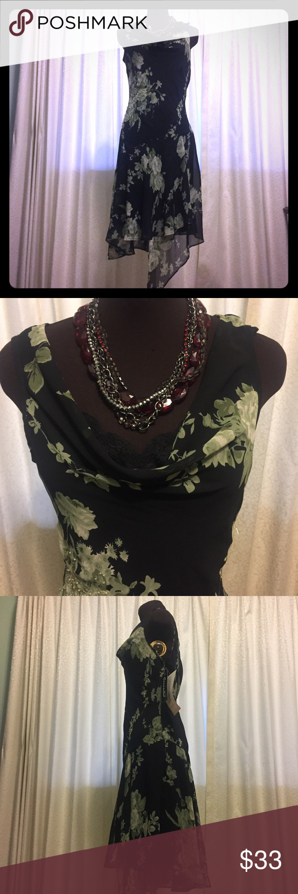 Sleeveless Floral & Pearl Embossed Shear Dress NWT: Shear Black Sleeveless dress with floral pattern, pearls and metallic threading for accent. Full lines with slip dress that has lace accents at the bust to add that extra feminine touch. Beautiful day or night. Material is 100.% polyester.   Size Medium Connection Dresses Maxi