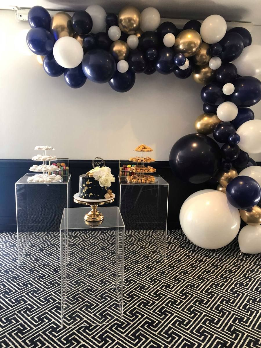 Midnight Blue Garland Gold Party Decorations Gold Party