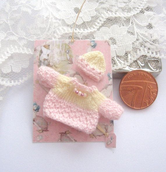 dollhouse baby jumper and hat set beatrix by Rainbowminiatures