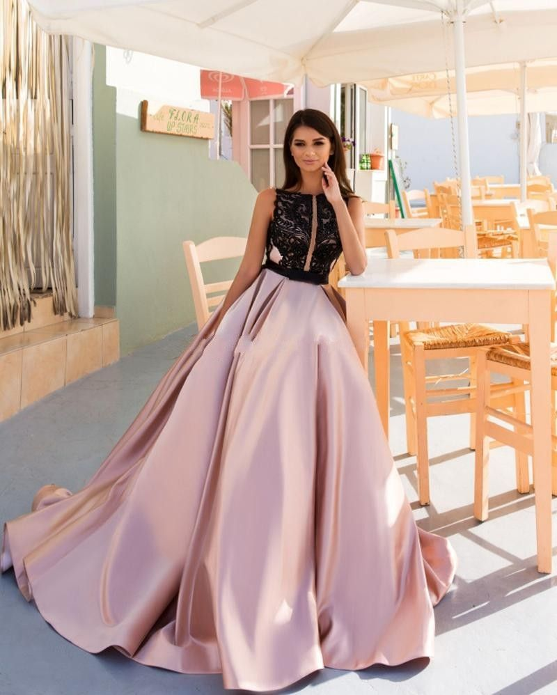 Pink and Black A-Line Prom Dress