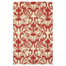 Hand-hooked wool rug with a damask motif.   Product: RugConstruction Material: 100% WoolColor: RedFeatures: Hand-hookedNote: Please be aware that actual colors may vary from those shown on your screen. Accent rugs may also not show the entire pattern that the corresponding area rugs have.Cleaning and Care: Spot treat with a mild detergent and water. Professional cleaning is recommended if necessary.