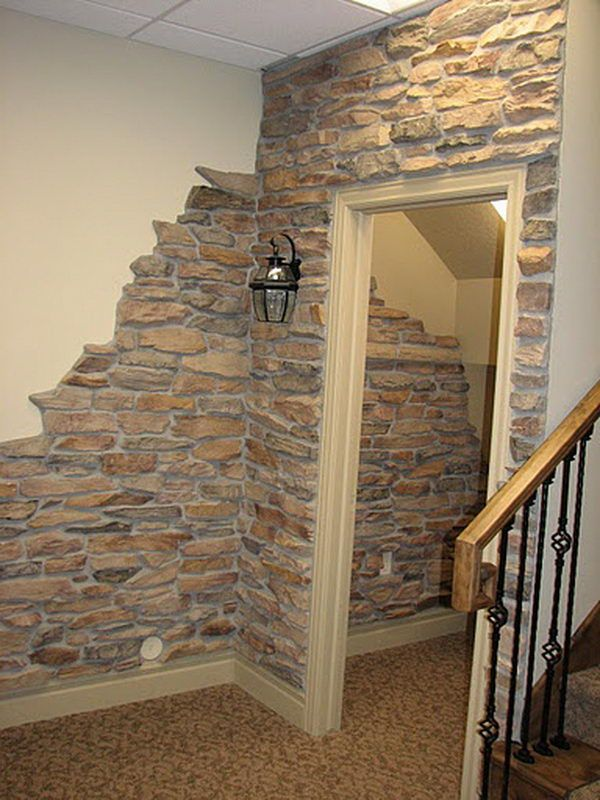 Clever And Cool Basement Wall Ideas Basement Walls Wall - Brick column lit by flush mounted core drilled well light