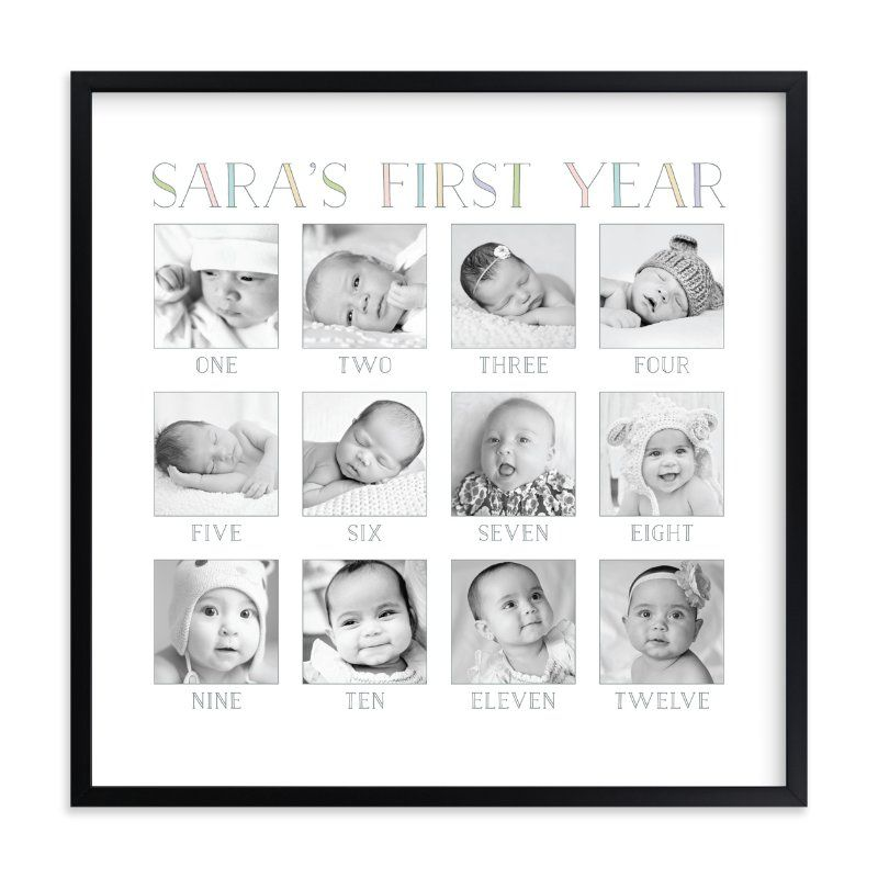 Baby S First Year Custom Photo Art Print Babies First Year Milestone Pictures