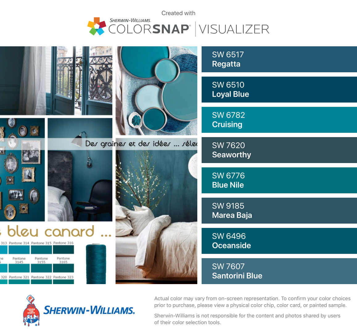 I Found These Colors With Colorsnap Visualizer For Iphone By Sherwin Williams Regatta Sw 6517 Loyal Paint Colors For Home Fall Paint Colors Santorini Blue