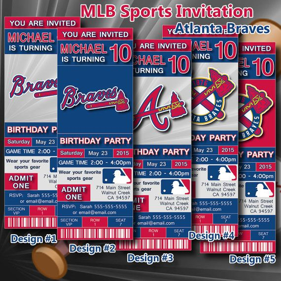 Atlanta Braves Birthday Invitation, Baseball, Ticket Invitation - printable ticket invitations