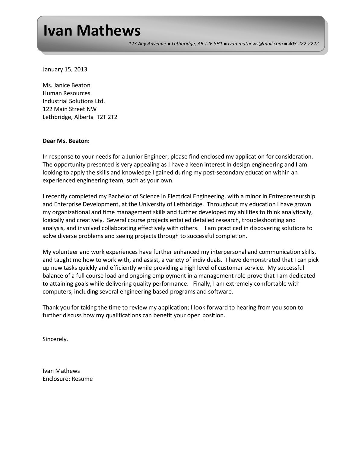 Captivating A Sample Of A Response To Ad Cover Letter. View More   Http:/