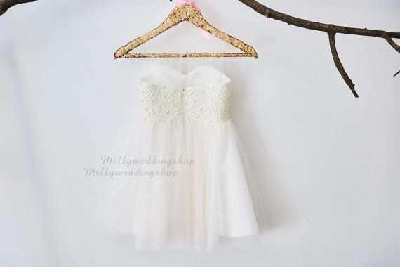 Pearl Beaded Champagne Tulle Flower Girl Dress by MillyWeddingshop