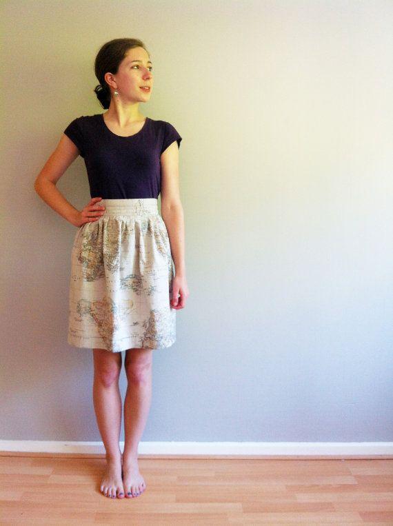 Vintage Print World Map Skirt Sewing Patterns Pinterest Skirts