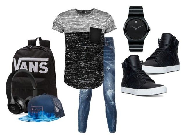"""""""Boy style"""" by edove9 on Polyvore featuring Dsquared2, Boohoo, Supra, Movado, Vans, Beats by Dr. Dre, Billabong, men's fashion and menswear"""